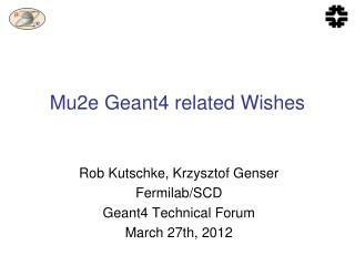 Mu2e Geant4 related Wishes