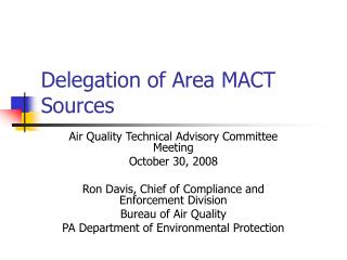 Delegation of Area MACT Sources
