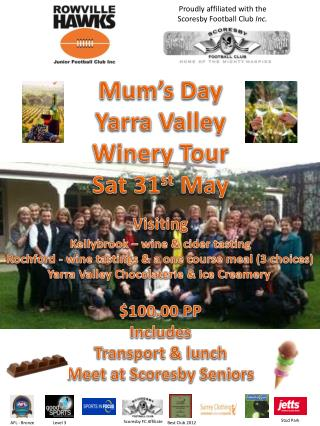Mum's Day Yarra  Valley Winery Tour Sat 31 st  May Visiting Kellybrook  – wine & cider tasting