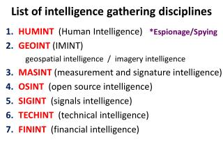 List of intelligence gathering disciplines
