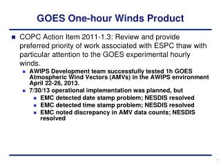GOES  One-hour Winds  Product