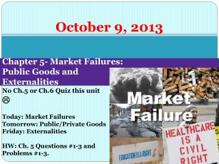 Chapter 5- Market Failures:  Public Goods and  Externalities