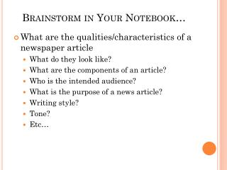 Brainstorm in Your Notebook…