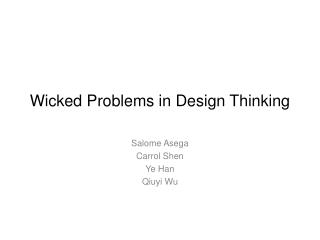 Wicked Problems in Design Thinking