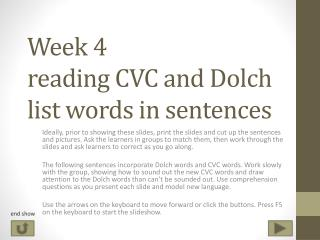 Week 4 reading CVC and Dolch list words in sentences