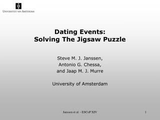 Dating Events:  Solving The Jigsaw Puzzle