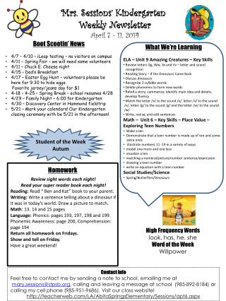 Mrs. Sessions' Kindergarten  Weekly Newsletter April 7 - 11 , 2014