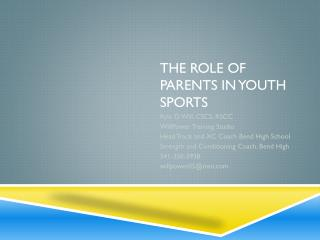 The Role of Parents in Youth Sports