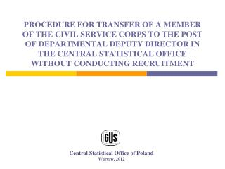 Central Statistical Office of Poland Warsaw, 2012