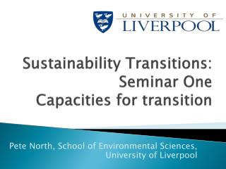 Sustainability  Transitions: Seminar  One Capacities for transition