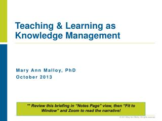 Teaching & Learning as Knowledge Management
