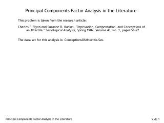 Principal Components Factor Analysis in the Literature