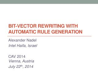 Bit-Vector Rewriting  with  Automatic Rule Generation