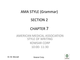 AMA STYLE (Grammar) SECTION  2 CHAPTER  7