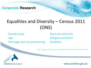 Equalities and Diversity – Census 2011 (ONS)