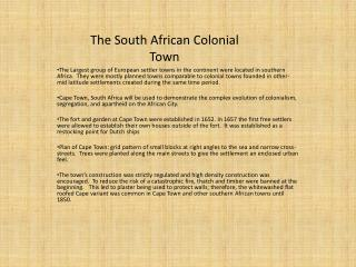 The South African Colonial Town