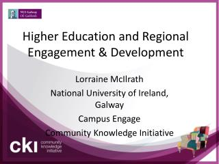 Higher Education and Regional Engagement & Development