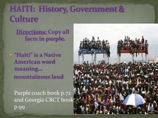 HAITI:  History , Government  & Culture