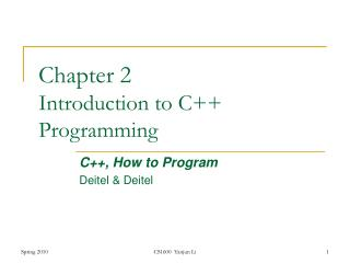 Chapter  2 Introduction to C++ Programming