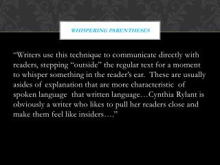 Whispering Parentheses