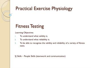 Practical Exercise Physiology Fitness Testing