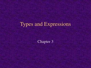 Types and Expressions
