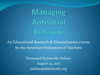 Managing  Antisocial  Behavior