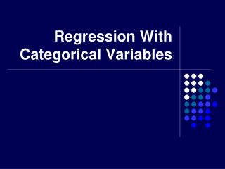 Regression With Categorical Variables