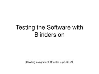 Testing the Software with Blinders on