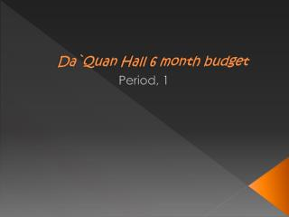 Da`Quan Hall 6 month budget