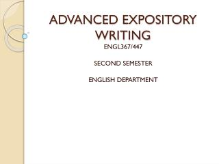 ADVANCED EXPOSITORY WRITING