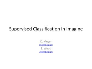 Supervised Classification in  Imagine