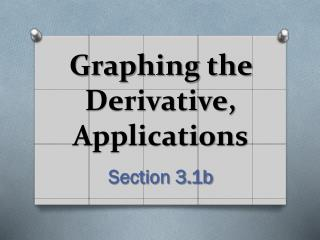 Graphing the Derivative, Applications