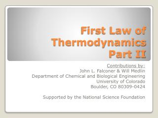 First Law of Thermodynamics Part II