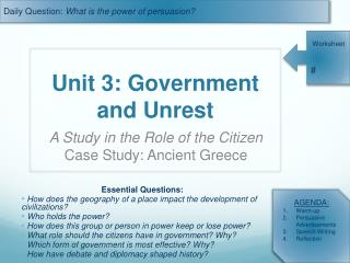 Unit 3: Government and Unrest