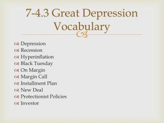 7-4.3 Great Depression Vocabulary