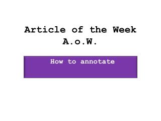 Article of the Week A.o.W.