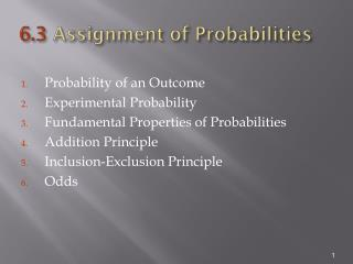 6.3  Assignment of Probabilities