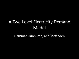 A Two-Level Electricity Demand Model
