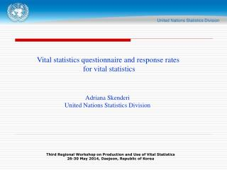 Vital statistics questionnaire and response rates  for vital statistics