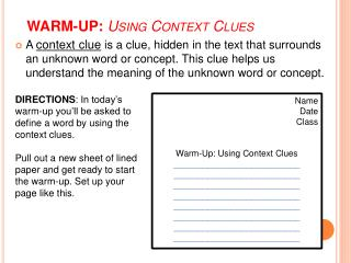 WARM-UP:  Using Context Clues