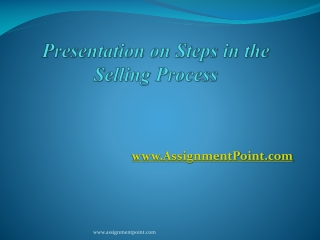 Steps to the Selling Process
