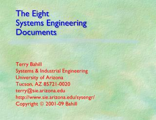 The Eight Systems Engineering  Documents