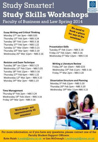 Study Smarter ! Study Skills Workshops Faculty of Business and Law Spring 2014