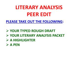 LITERARY ANALYSIS PEER EDIT