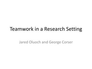 Teamwork in a Research Setting