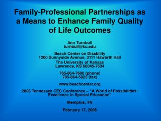 Family-Professional Partnerships as a Means to Enhance Family Quality of Life Outcomes