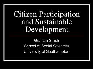 Citizen Participation and Sustainable Development