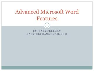 Advanced Microsoft Word Features