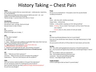 History Taking – Chest Pain